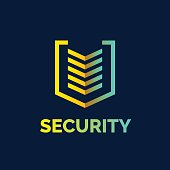 Linear shield, a symbol of security, protection and reliability. Minimalistic vector illustration on dark blue background