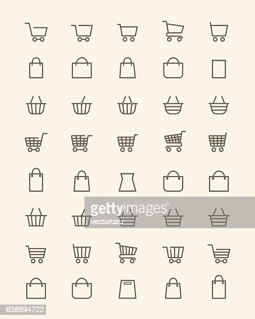 Linear shopping basket icons : stock vector