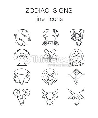 Linear Symbols Set 12 Zodiac Signs Horoscope Icons Vector Art