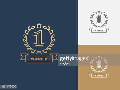 Linear winner emblem with number 1. : stock vector