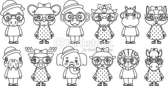 Lineart Chico Lindo Animal Chica Cachorros Mascota Cartoon Niños ...