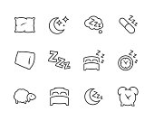 Simple Set of Sleep Related Vector Icons for Your Design.