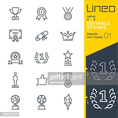 Lineo Editable Stroke - Awards and Trophy line icons : stock vector