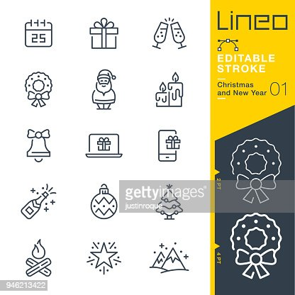 Lineo Editable Stroke - Christmas and New Year line icons : Vector Art