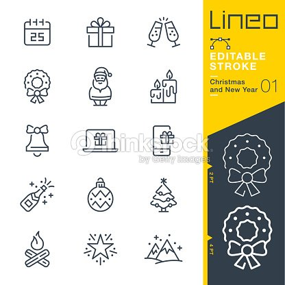 Lineo Editable Stroke - Christmas and New Year line icons : stock vector