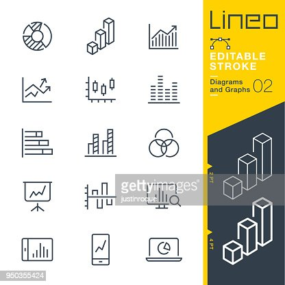 Lineo Editable Stroke - Diagrams and Graphs line icons : stock vector