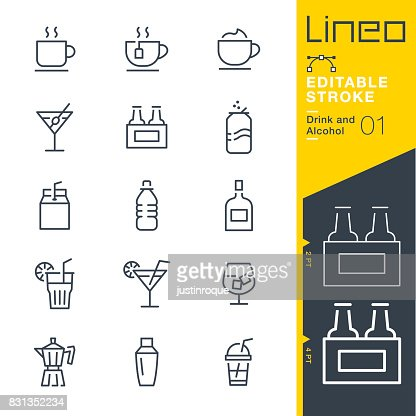 Lineo Editable Stroke - Drink and Alcohol line icons : Vector Art