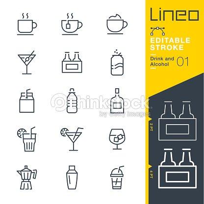 Lineo 編集可能なストローク - ドリンク/アルコール類線アイコン : ベクトルアート