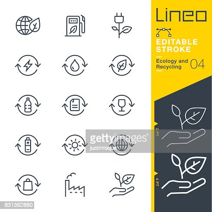 Lineo Editable Stroke - Ecology and Recycling line icons : stock vector