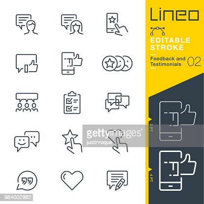 Lineo Editable Stroke - Feedback and Testimonials line icons : Vector Art