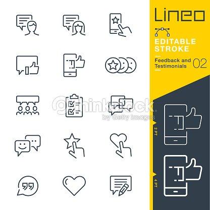 Lineo Editable Stroke - Feedback and Testimonials line icons : stock vector