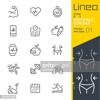 Lineo Editable Stroke - Fitness and Gym line icons : Vector Art