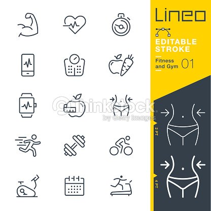 Lineo Editable Stroke - Fitness and Gym line icons : stock vector