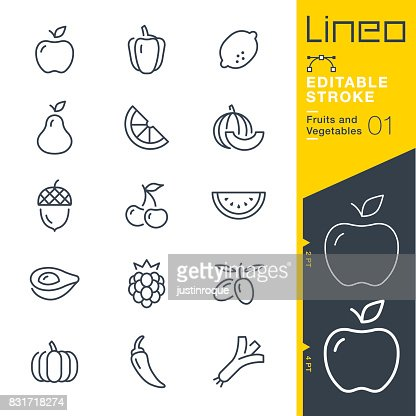 Lineo Editable Stroke - Fruits and Vegetables line icons : stock vector