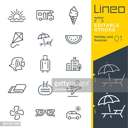 Lineo Editable Stroke - Holiday and Summer line icons : stock vector