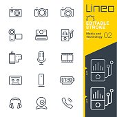 Lineo Editable Stroke - Media and Technology line icons