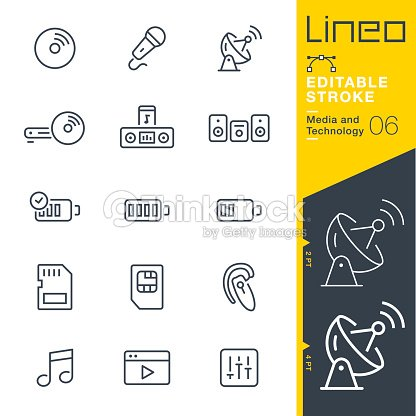 Lineo Editable Stroke - Media and Technology line icons : stock vector