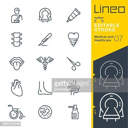 Lineo modifiable AVC - médicaux et soins de santé ligne d'icônes : Clipart vectoriel