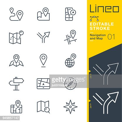 Lineo Editable Stroke - Navigation and Map line icons : Vector Art