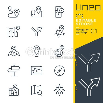 Lineo Editable Stroke - Navigation and Map line icons : stock vector