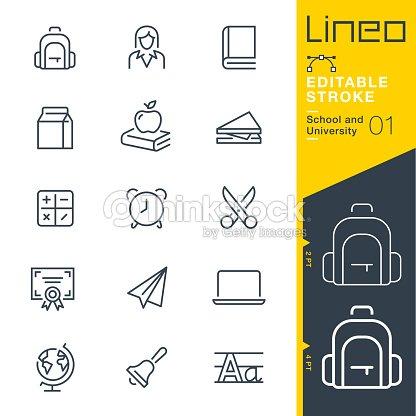 Lineo modifiable AVC - scolaire et universitaire line icônes : clipart vectoriel