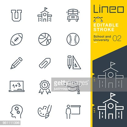 Lineo Editable Stroke - School and University line icons : Vector Art