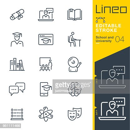 Lineo Editable Stroke - School and University line icons : Arte vetorial