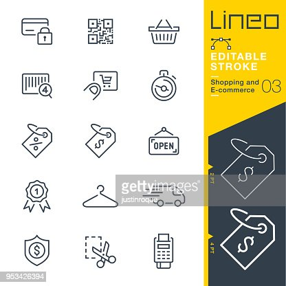 Lineo Editable Stroke - Shopping and E-commerce line icons : stock vector