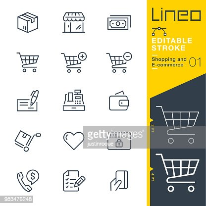 Lineo Editable Stroke - Shopping and E-commerce line icons : Vector Art