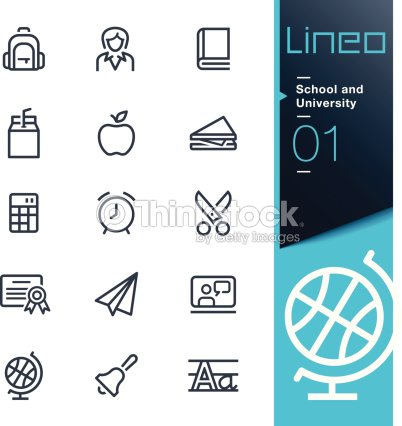 Lineo School And University Outline Icons Vector Art