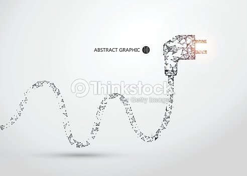 Lines connected to the plug graphics, vector illustration. : stock vector