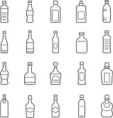 Lines icon set - bottle and beverage on white background vector illustration