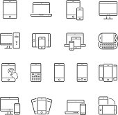 Lines icon set - responsive devices vector illustration