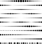 Lines made of dots. For brushes, decorative elements, dividing lines. Vector illustration.