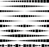 Lines made of square dots. For brushes, decorative elements, dividing lines. Vector illustration.