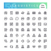 Set of 56 linguistics line icons suitable for web, infographics and apps. Isolated on white background. Clipping paths included.