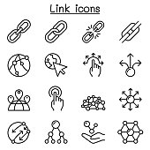 Link icon set in thin line style
