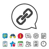 Link sign icon. Hyperlink chain symbol. Information, Report and Calendar signs. Group, Service and Chat line icons. Vector