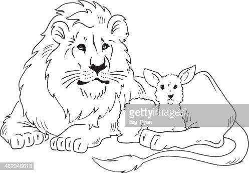 Lion And Lamb Vector Art