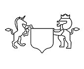 Lion and Unicorn Shield heraldic symbol. Sign Animal for coat of arms. Vector illustration