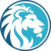 lion circle abstract color blue