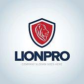 Lion head red and dark blue emblem template