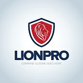 Lion head red and dark blue emblem template