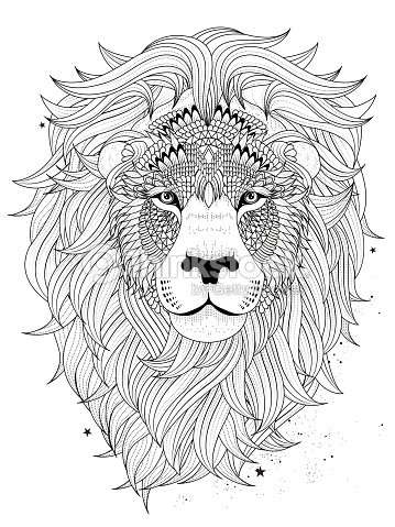 Lion Head Coloring Page Vector Art