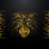 Lion. Low poly wireframe illustration of lion's head in gold style. Polygonal vector image in RGB color. Wild nature and animals concept.