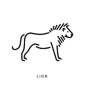 Linear vector silhouette of a predator lion from the cat family. Minimalistic logo image of the lion king of beasts. Male lion with mane.