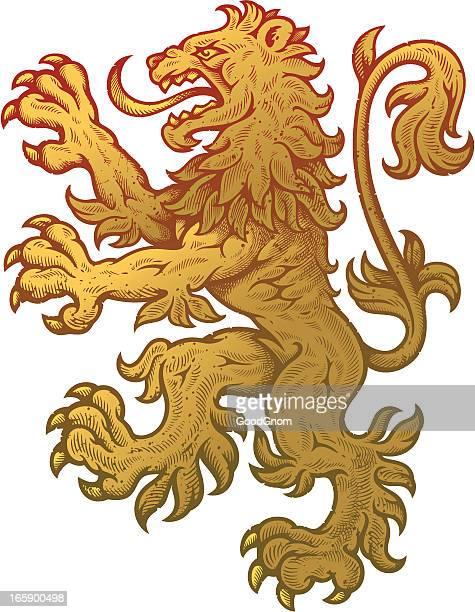 Lion rampant à blasons