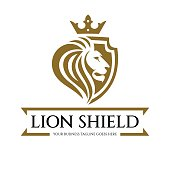 Lion shield logo design template. Lion head logo. Element for the brand identity. Vector illustration