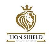 Lion shield logo design template. Lion head logo. Element for the brand identity. Vector illustration