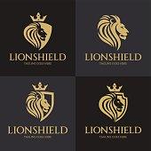 Lion shield design template. Vector illustration